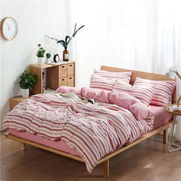 水洗棉四件套(无印条纹系列) 1.2m床单款三件套 彩条-红