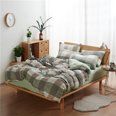 水洗棉四件套(无印条纹系列) 1.2m床笠款三件套 大格-绿