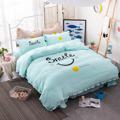 笑脸荷叶边夏凉被四件套系列 1.8m(6英尺)床 粉色