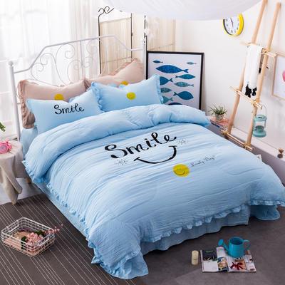笑脸荷叶边夏凉被四件套系列 1.8m(6英尺)床 蓝色