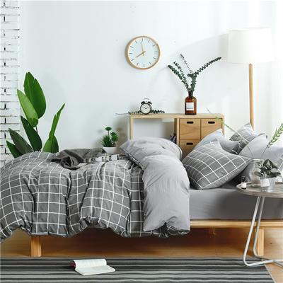水洗棉四件套(无印条纹系列) 1.2m床笠款三件套 中格-灰