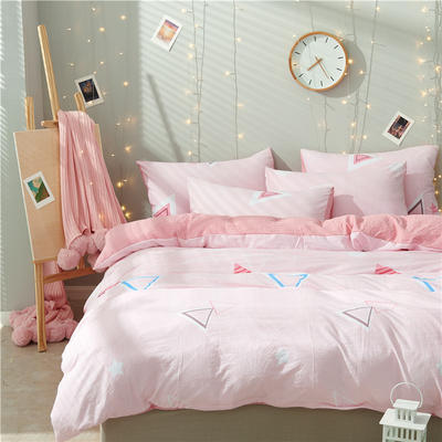 水洗棉四件套(小清新系列) 1.2m床单款三件套 粉色回忆