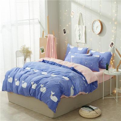 水洗棉四件套(小清新系列) 1.2m床单款三件套 海豚-蓝