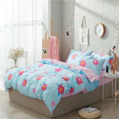 水洗棉四件套(小清新系列) 1.2m床单款三件套 花儿朵朵