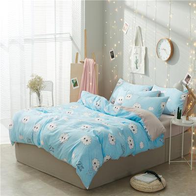 水洗棉四件套(小清新系列) 1.2m床单款三件套 蓝色云朵