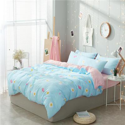 水洗棉四件套(小清新系列) 1.2m床单款三件套 太空记忆-蓝