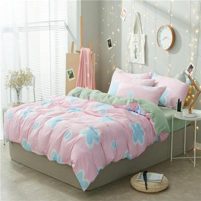 水洗棉四件套(小清新系列) 1.2m床单款三件套 浴花-粉