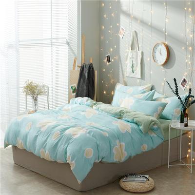 水洗棉四件套(小清新系列) 1.2m床单款三件套 浴花-蓝