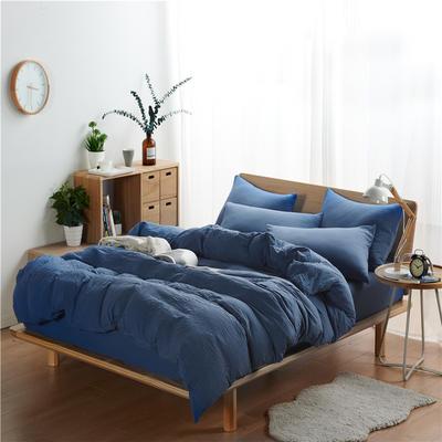 水洗棉四件套(无印条纹系列) 1.2m床单款三件套 纯色-宝蓝
