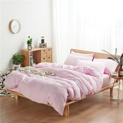 水洗棉四件套(无印条纹系列) 1.2m床单款三件套 纯色-粉色