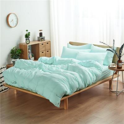 水洗棉四件套(无印条纹系列) 1.2m床单款三件套 纯色-水绿
