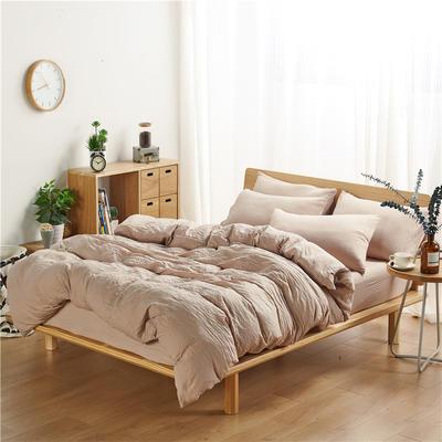 水洗棉四件套(无印条纹系列) 1.2m床单款三件套 纯色-驼色
