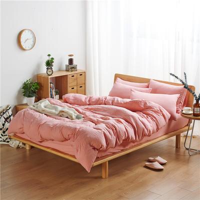 水洗棉四件套(无印条纹系列) 1.2m床单款三件套 纯色-嫣红
