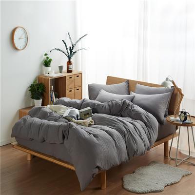 水洗棉四件套(无印条纹系列) 1.2m床单款三件套 纯色-银灰