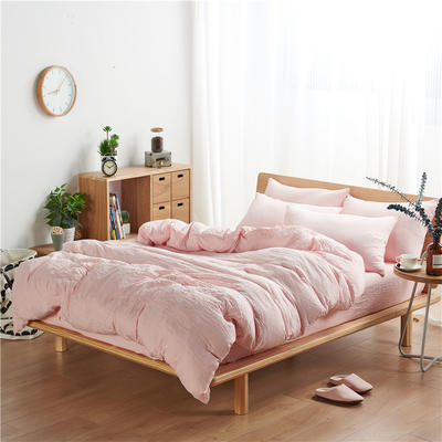 水洗棉四件套(无印条纹系列) 1.2m床单款三件套 纯色-玉色