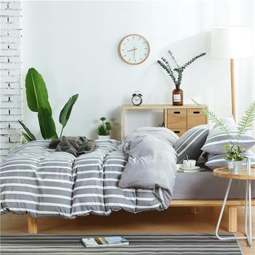 水洗棉四件套(无印条纹系列) 1.2m床单款三件套 宽条-灰