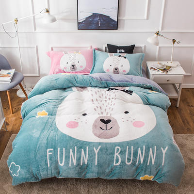 2018新款双面绒四件套 标准1.5m-1.8m床单款 小兔