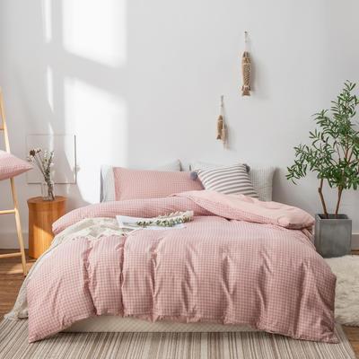 水洗棉四件套(无印条纹系列) 1.2m床单款三件套 豆沙小格