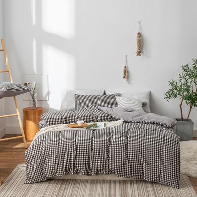 水洗棉四件套(无印条纹系列) 1.2m床单款三件套 黑白小格