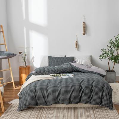 水洗棉四件套(无印条纹系列) 1.2m床单款三件套 灰小格