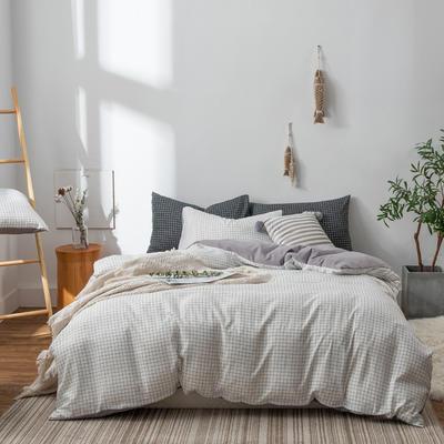 水洗棉四件套(无印条纹系列) 1.2m床单款三件套 小白格