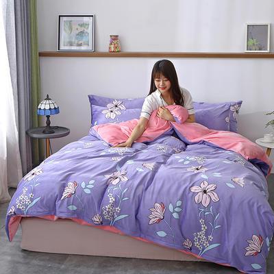 2019最新款水晶绒四件套 2.0m床(床单款) 花满天紫