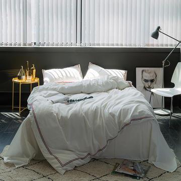 TB英伦风织带款水洗棉四件套 床单款1.5m(5英尺)床 巴洛克-白