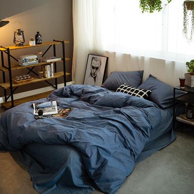 基础款水洗棉-纯色 小小号床笠款1.2m(4英尺)床 牛仔蓝