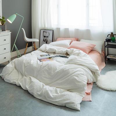 基础款水洗棉-纯色混搭 小小号床单款1.2m(4英尺)床 粉+白