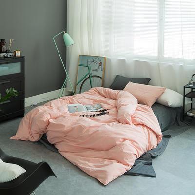 基础款水洗棉-纯色混搭 大号加大床笠款2.0m(6.6英尺)床 深灰+粉