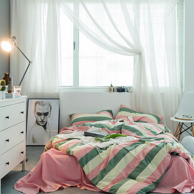 基础款水洗棉-宽条 小小号床单款1.2m(4英尺)床 红绿宽条
