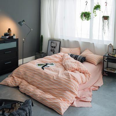 基础款水洗棉-宽条 大号加大床笠款2.0m(6.6英尺)床 玉宽条