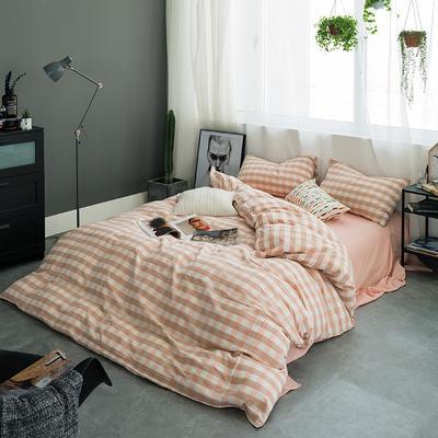 基础款水洗棉-三分格 小小号床单款1.2m(4英尺)床 粉白三分格