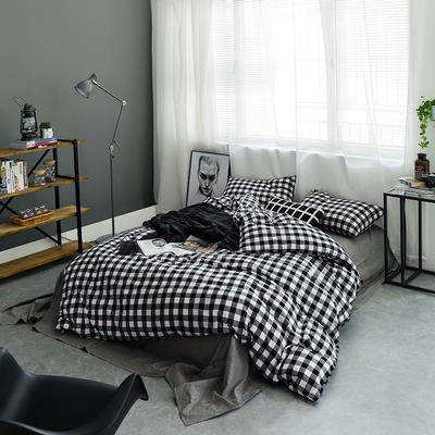 基础款水洗棉-三分格 小小号床单款1.2m(4英尺)床 黑白三分格