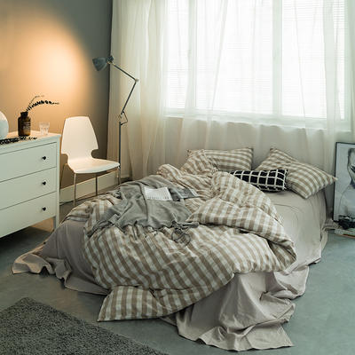 基础款水洗棉-三分格 大号加大床笠款2.0m(6.6英尺)床 米白三分格