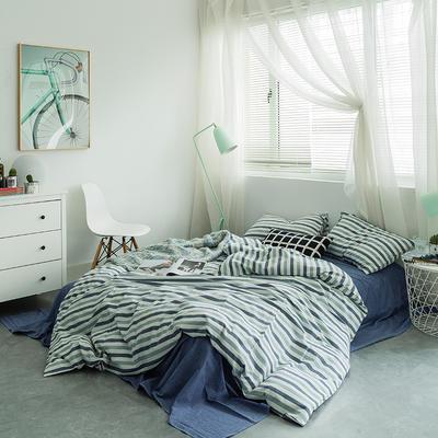 基础款水洗棉-三色条 大号加大床笠款2.0m(6.6英尺)床 条纹蓝