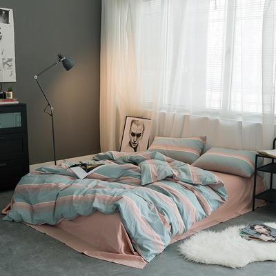 基础款水洗棉-条子类 小小号床单款1.2m(4英尺)床 清新条纹
