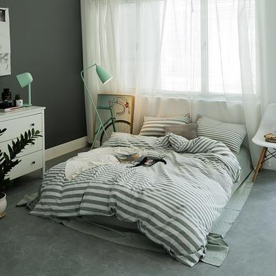 基础款水洗棉-条子类 大号加大床笠款2.0m(6.6英尺)床 维尼之光-绿