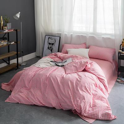 基础款水洗棉-小格 小小号床单款1.2m(4英尺)床 粉红小格