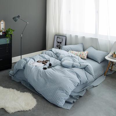 基础款水洗棉-小格 小小号床单款1.2m(4英尺)床 浅蓝小格