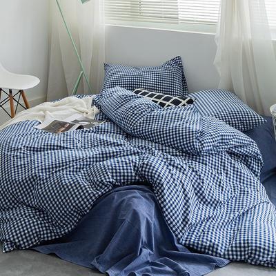 基础款水洗棉-小格 小小号床单款1.2m(4英尺)床 深蓝小格