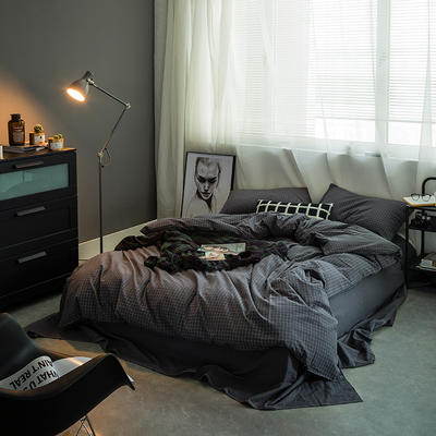 基础款水洗棉-小格 小小号床单款1.2m(4英尺)床 小灰格