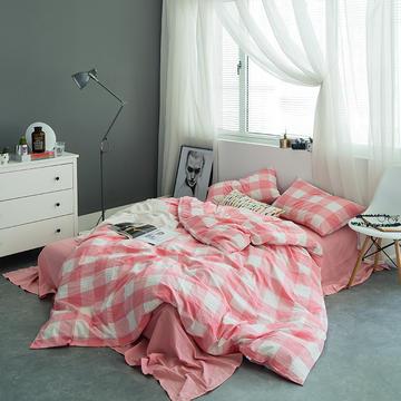 基础款水洗棉四件套-中格 小小号床单款1.2m(4英尺)床 粉中格
