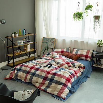 基础款水洗棉四件套-中格 小小号床单款1.2m(4英尺)床 红蓝中格