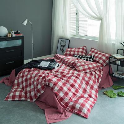 基础款水洗棉四件套-中格 小小号床单款1.2m(4英尺)床 红中格