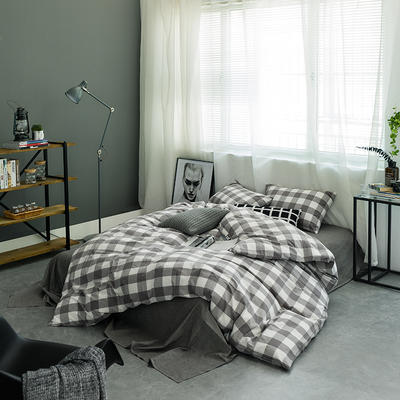 基础款水洗棉四件套-中格 小小号床单款1.2m(4英尺)床 灰中格