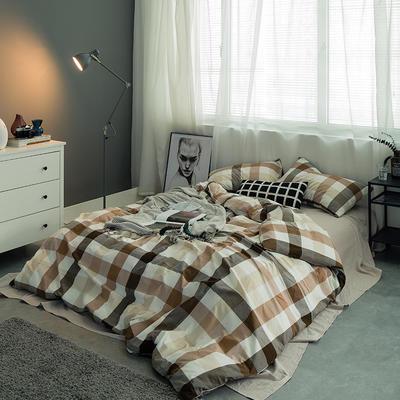基础款水洗棉四件套-中格 小小号床单款1.2m(4英尺)床 咖中格