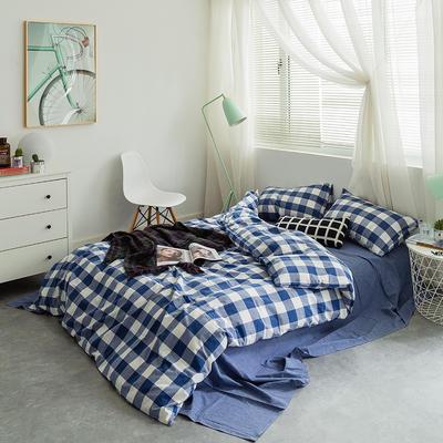 基础款水洗棉四件套-中格 小小号床单款1.2m(4英尺)床 蓝中格