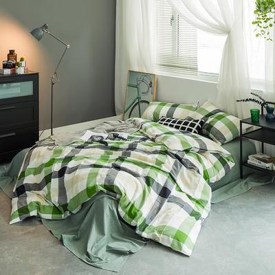 基础款水洗棉四件套-中格 小小号床笠款1.2m(4英尺)床 绿中格