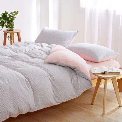针织棉四件套 小小号床单款1.2m(4英尺)床 粉灰细条